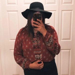 KNOX ROSE bohemian print blouse